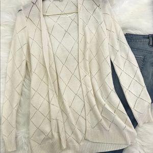 Loft Long Cream Color Diamond Knit Open Cardigan